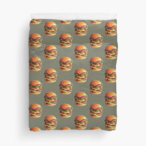 Gourmet Burger Polygon Art Duvet Cover