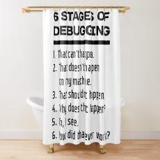Cortina de ducha Seis etapas de depuración Diseño de desarrollo de software divertido Texto negro