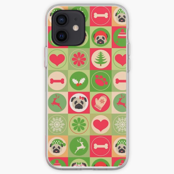 Super Cute Christmas Pug - Green, Red, Background iPhone Soft Case