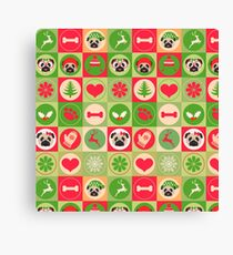 Super Cute Christmas Pug - Green, Red, Background Canvas Print