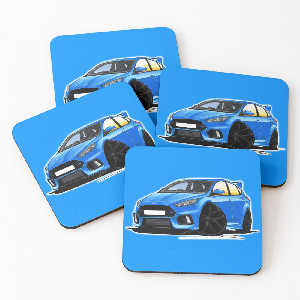 Ford Focus (Mk3) RS Blue Coasters (Set of 4)