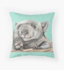 Lucy the Wombat - Teal Throw Pillow