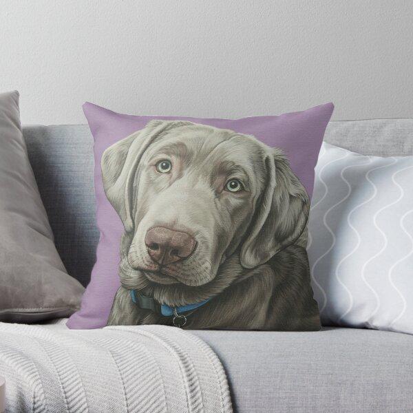 Sweet Silver Labrador Retriever Painting, Silver Lab Dog Puppy Art Throw Pillow