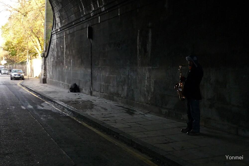 Sax Under Bridge by Yonmei