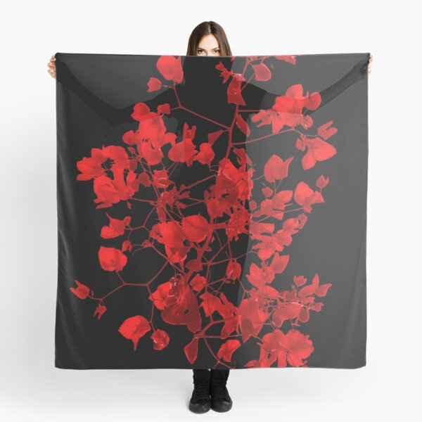 Dark Red Floral Print Scarf