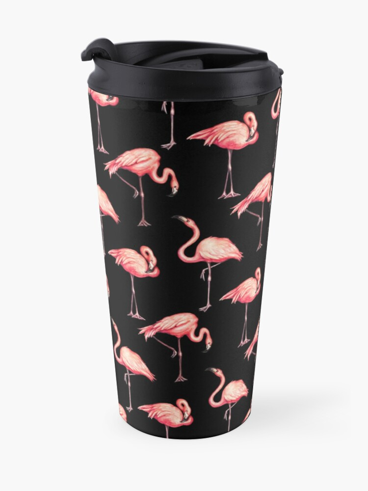 Alternate view of Flamingo Pattern - Black Travel Mug