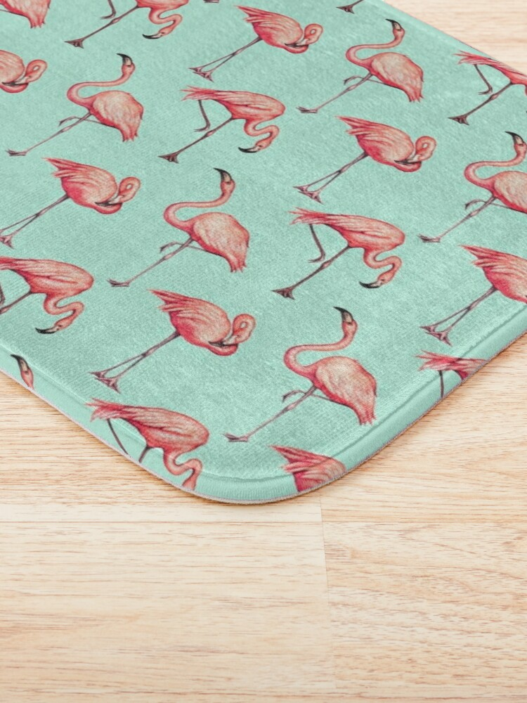 Alternate view of Flamingo Pattern - Blue Bath Mat