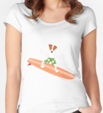 Jack Russell Terrier Surfer Women's Fitted Scoop T-Shirt