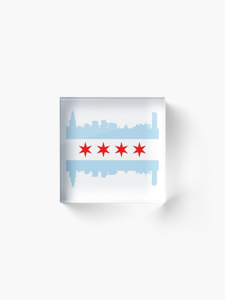 Alternate view of Chicago Flag Skyline Acrylic Block