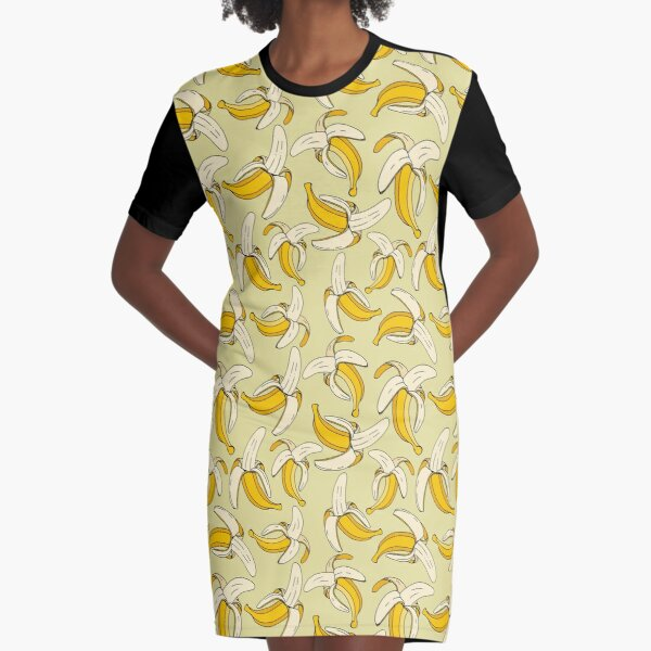 Tropical Bananas on Warm Beige Food Pattern Graphic T-Shirt Dress