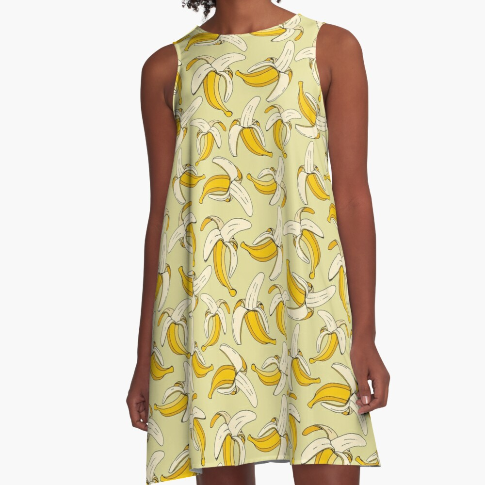 Tropical Bananas on Warm Beige Food Themed Pattern A-Line Dress