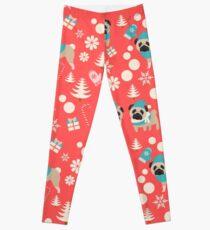 Holiday Pugs in Sweaters Leggings