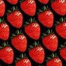 Strawberry Pattern - Black by Kelly  Gilleran