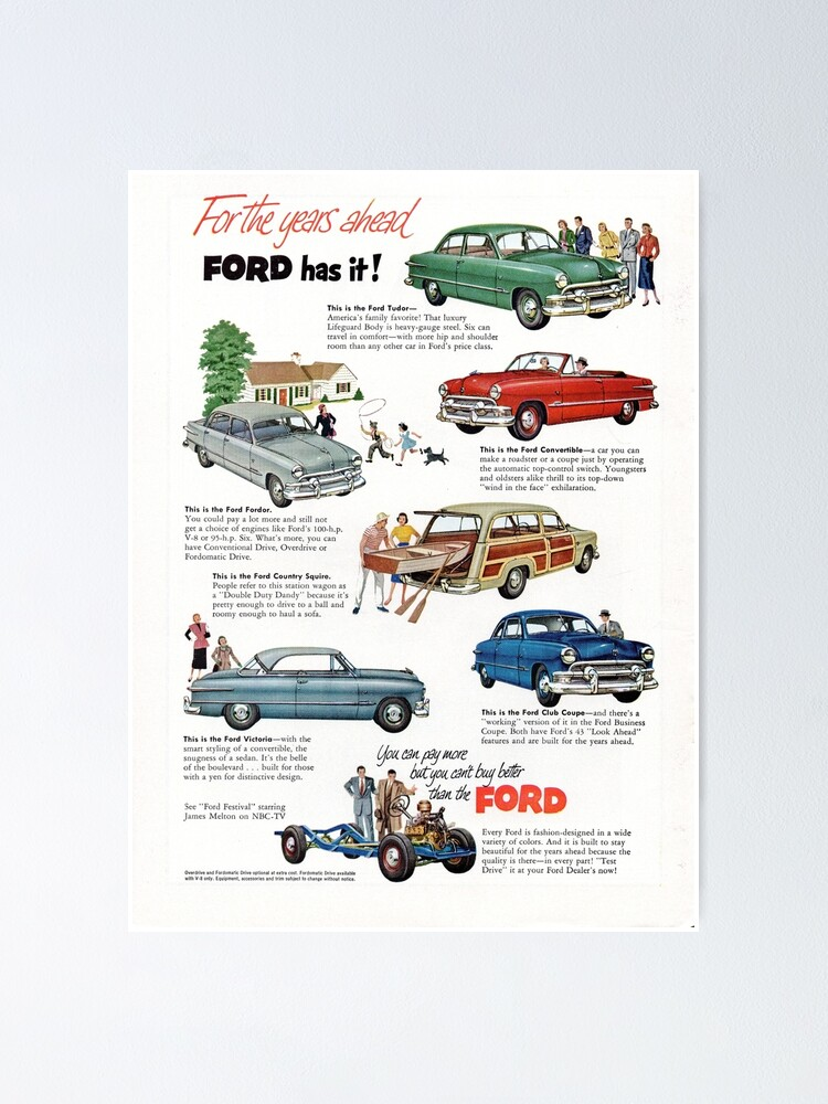 Alternate view of 1951 Ford Model Line-up Poster