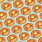 Pancakes Pattern - Blue by Kelly  Gilleran