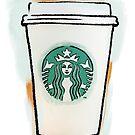 Starbucks Cup Drawing (Blue & Orange) by Samm Poirier