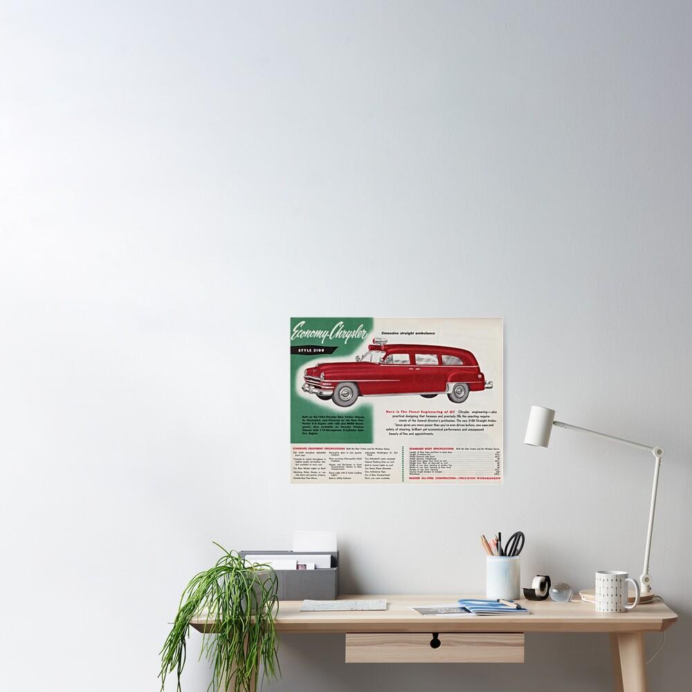 1953 Economy-Chrysler Limousine Straight Ambulance advertisement Poster