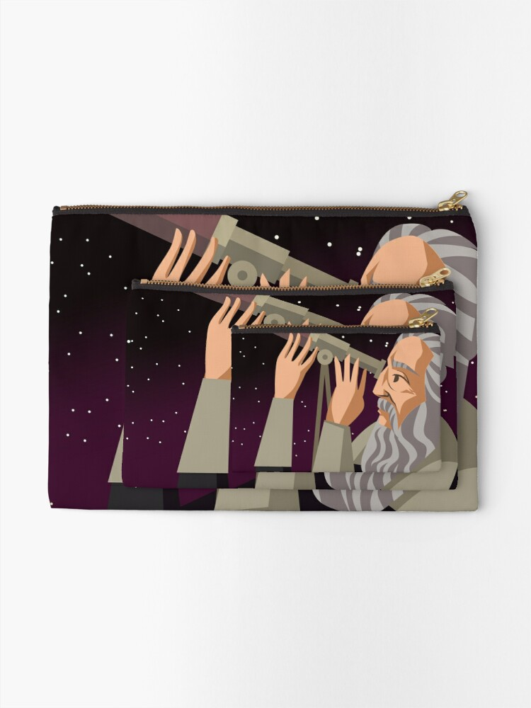 Alternate view of galileus watching the sky Zipper Pouch