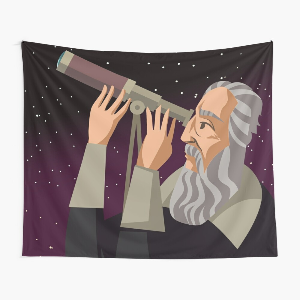 galileus watching the sky Wall Tapestry