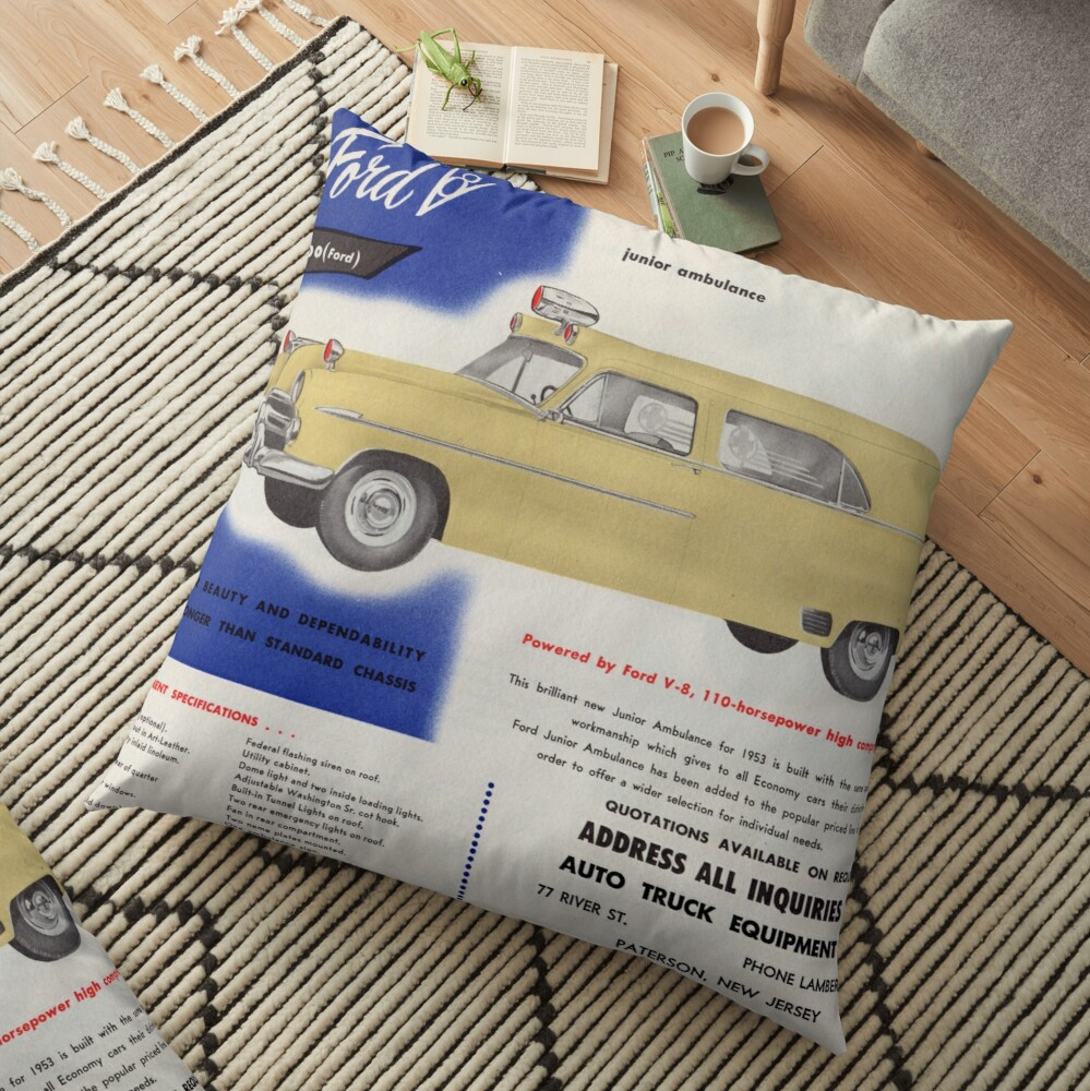 1953 Ford Junior Ambulance advertisement Floor Pillow