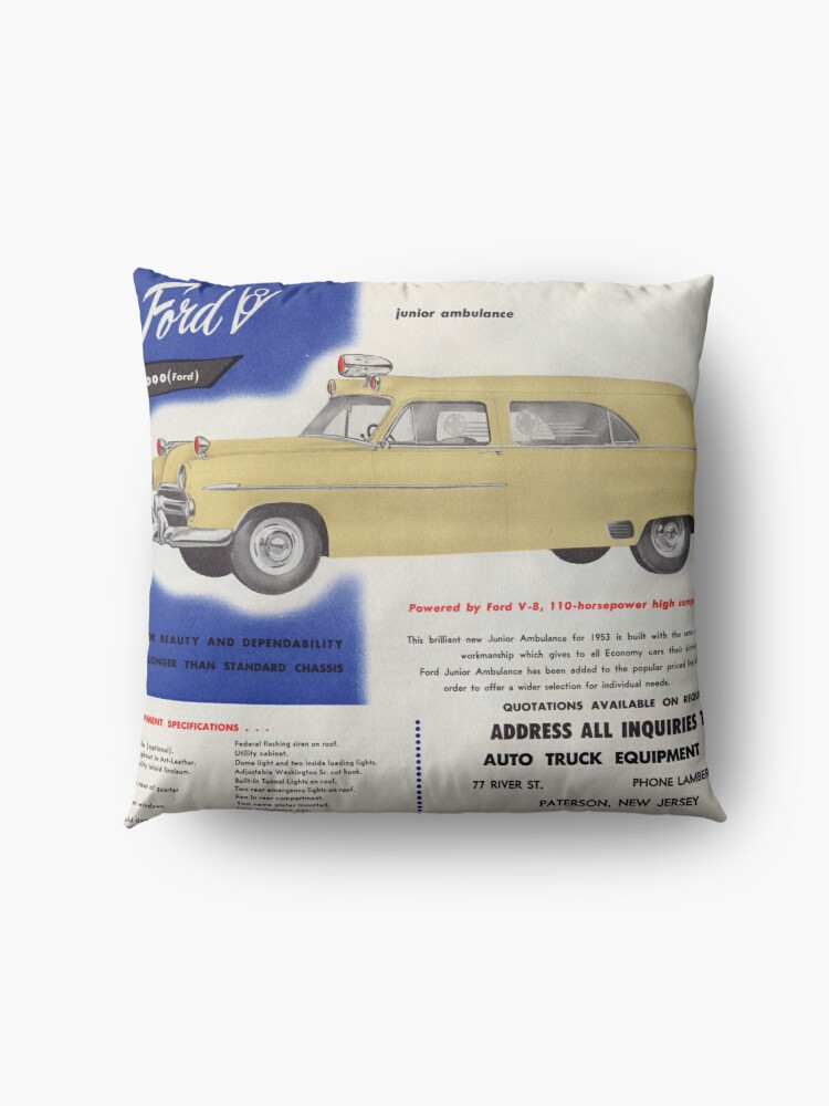 Alternate view of 1953 Ford Junior Ambulance advertisement Floor Pillow