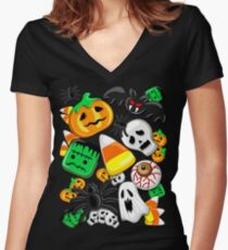 Halloween Spooky Candies Party Fitted V-Neck T-Shirt