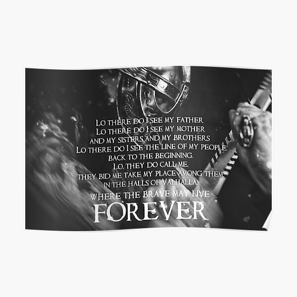 Brave May Live Forever - Viking Prayer Poster