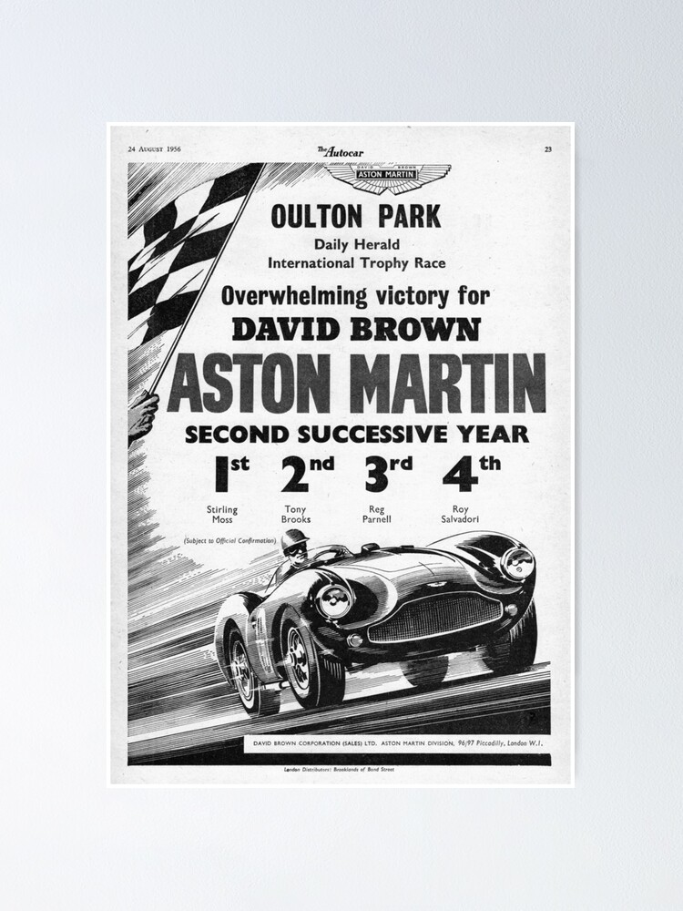 Alternate view of The Autocar Aston Martin DBS3 race car advertisement from 1956 Poster