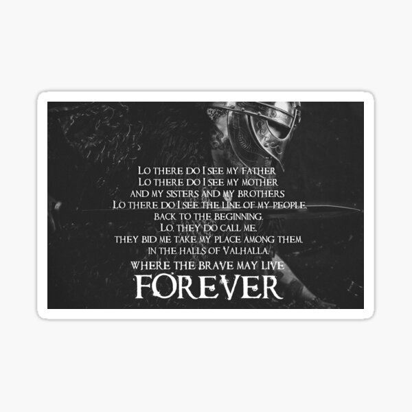 Brave May Live Forever - Viking Prayer Sticker