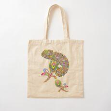 Chameleon Psychedelic Cotton Tote Bag