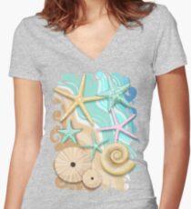 Seashells Retro Pastel Sea Life Fitted V-Neck T-Shirt