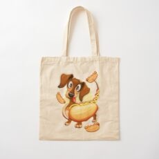 Dachshund Hot Dog Cute and Funny Character Cotton Tote Bag