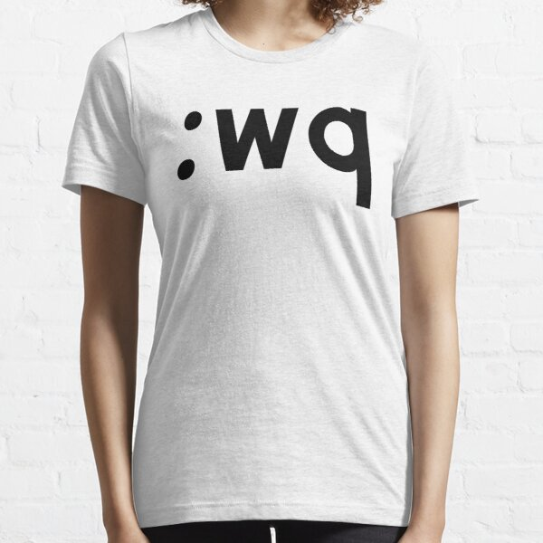 :wq - Funny Coder Design Showing how to Save & Exit Vi/Vim - Black Text Essential T-Shirt