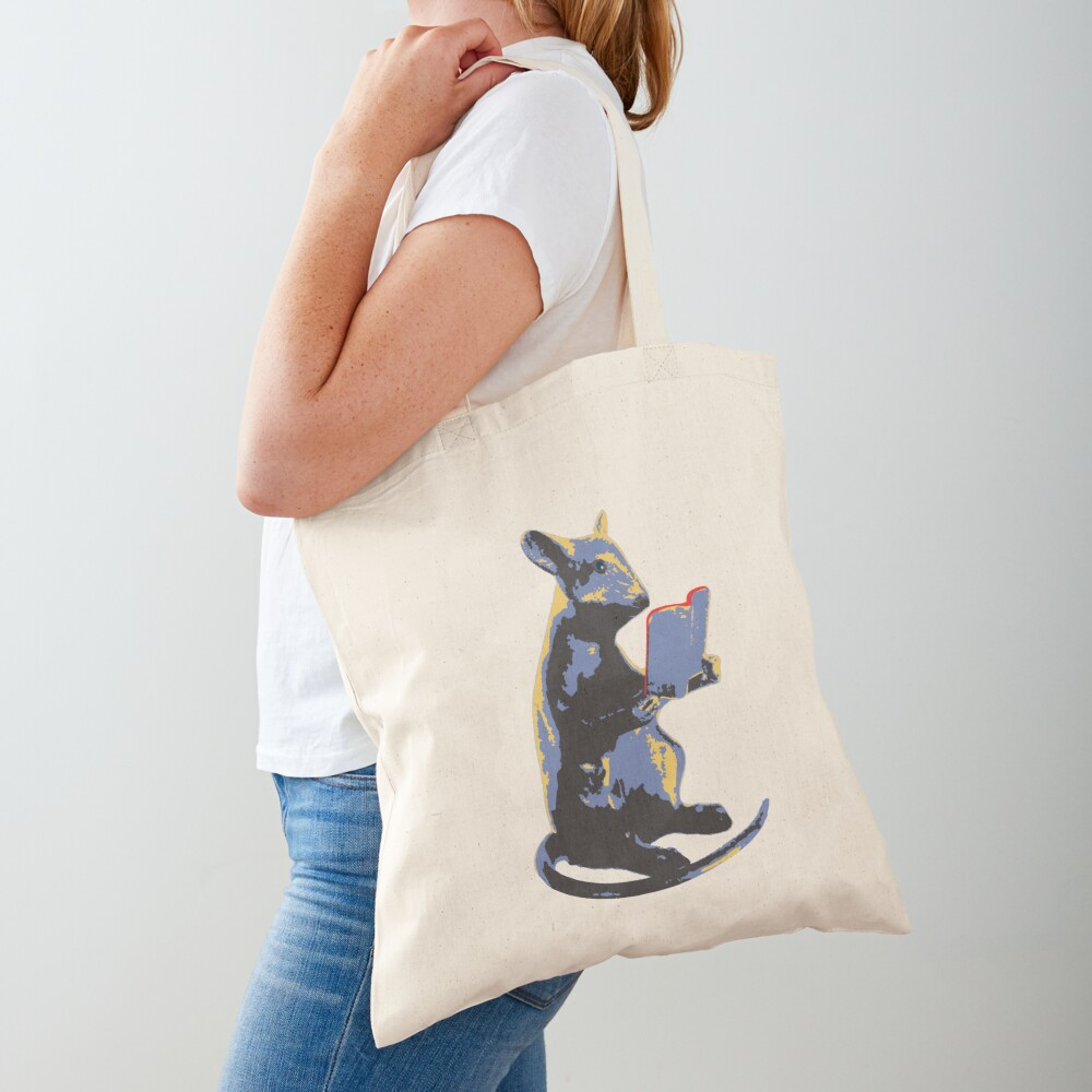 Book Mouse - blue Tote Bag