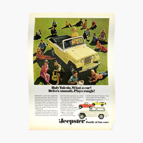 Jeep Jeepster Convertible advertisement 1967 Poster