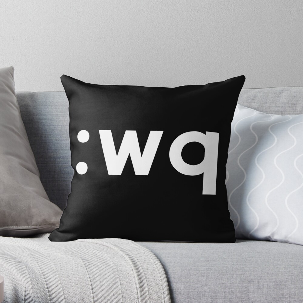 Wq Funny Coder Design Showing How To Save Exit Vi Vim White Text Throw Pillow By Ramiro Redbubble