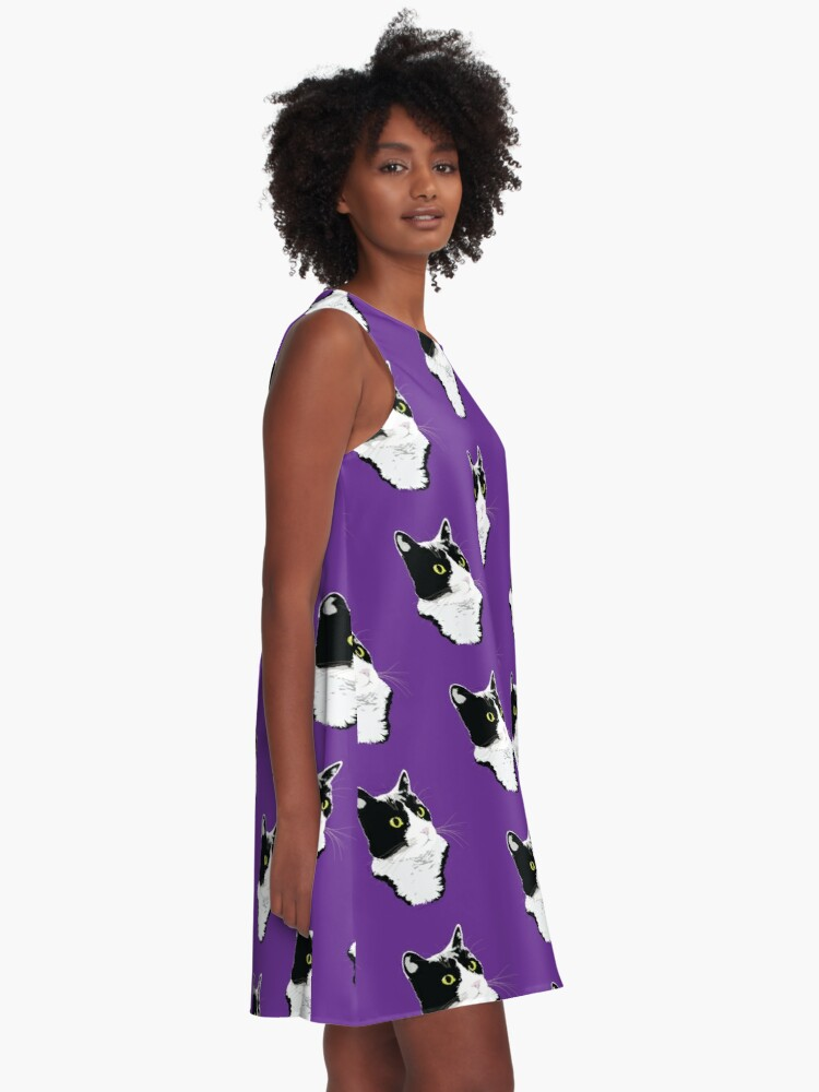 Alternate view of Regal Tuxedo Kitty A-Line Dress