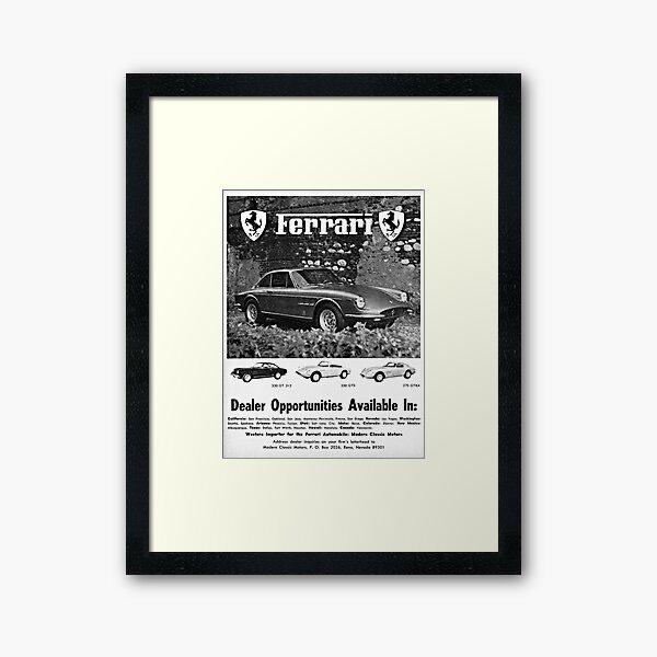 Ferrari 330 GT 2+2, 330 GTS & 275 GTB4 advertisement 1968 Framed Art Print