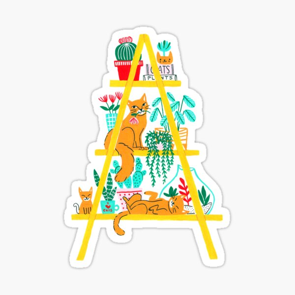 Cat Shelf with Plants Sticker