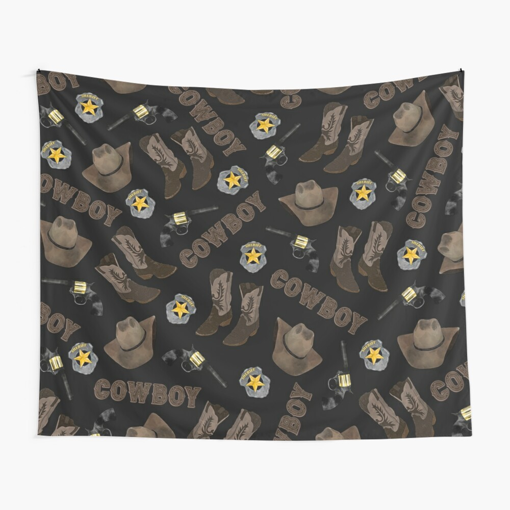 Cowboy Typography Artsy Cool Brown Watercolor Wall Tapestry