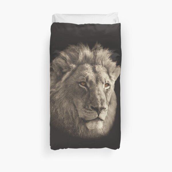 Lion Face in Vintage Sepia Duvet Cover