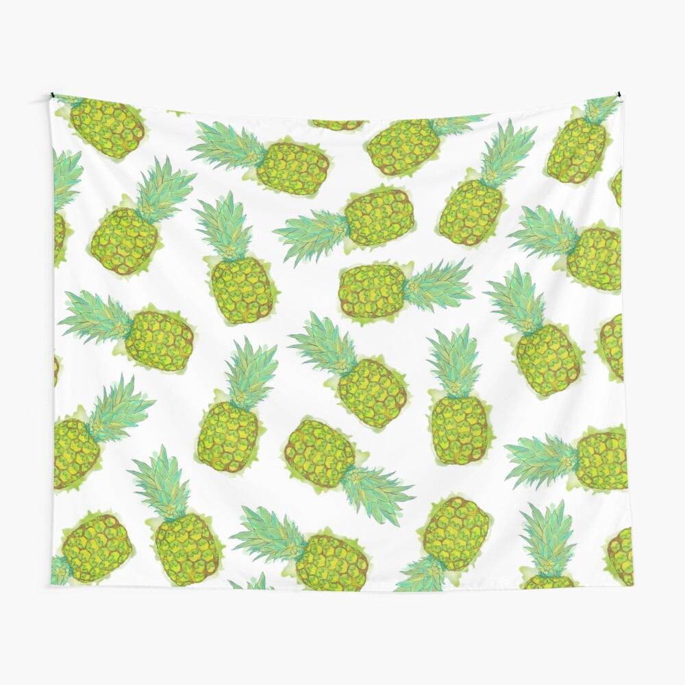 Tropical Summer Yellow Green Pineapples Fruit Wall Tapestry