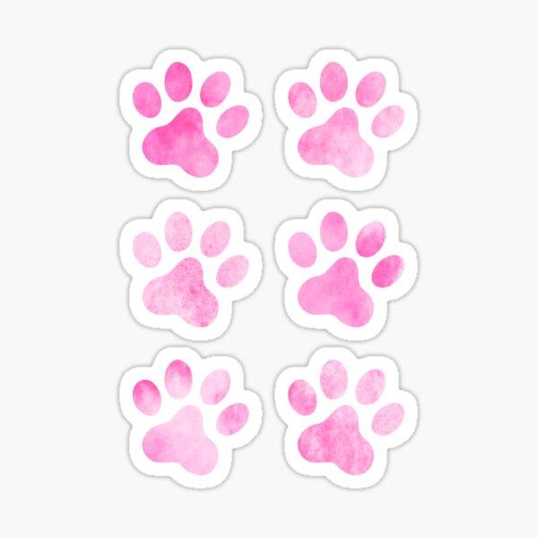 Pink watercolour paw prints, set of six Sticker