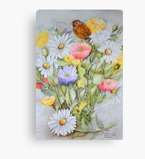Fledgling wren,Icelandic Poppies and Daisies Canvas Print