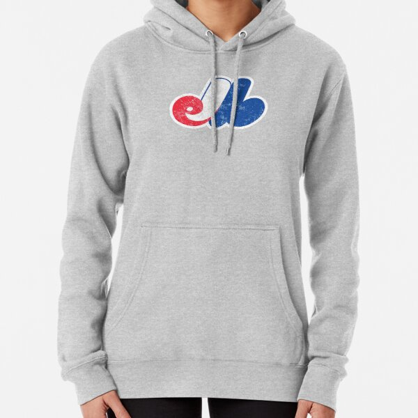 Montreal Expos Distressed Logo - Defunct Baseball Team - Canadian Baseball - Jarry Park and Olympic Stadium Pullover Hoodie