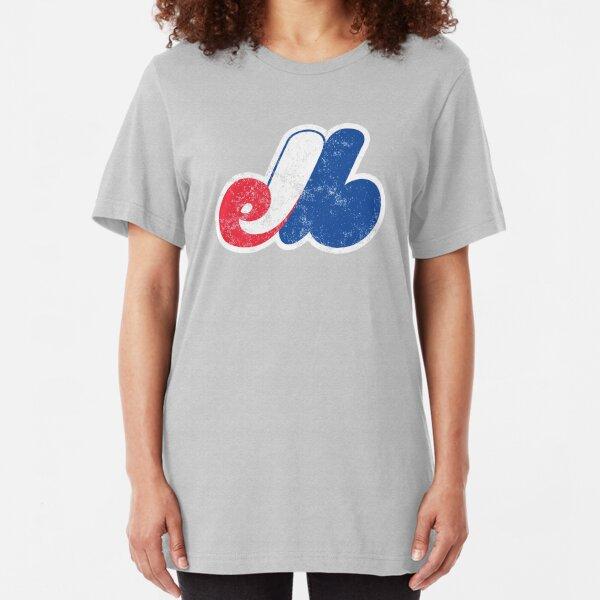 Distressed Logo von Montreal Expos - Verstorbenes Baseballteam - Kanadischer Baseball - Jarry Park und Olympiastadion Slim Fit T-Shirt