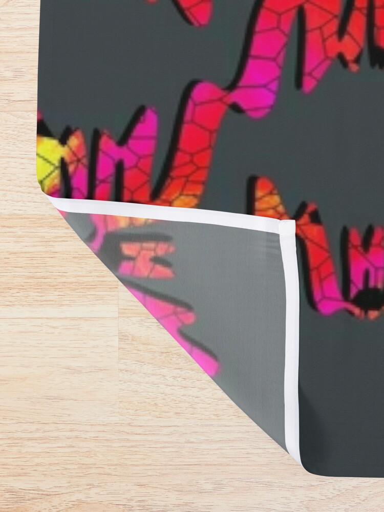 Alternate view of Neon crackle  Shower Curtain