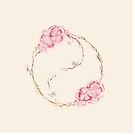 Blooming yin-yang circle watercolor painting design on beige  by AwenArtPrints