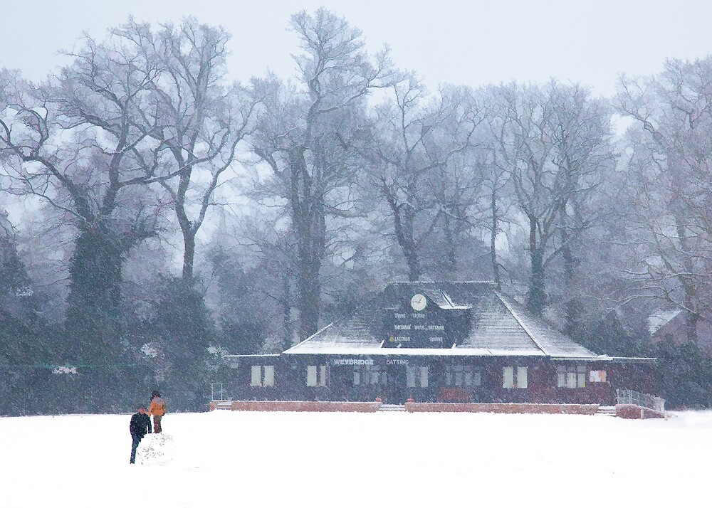 No cricket today - winter in Weybridge by Rachael  Talibart
