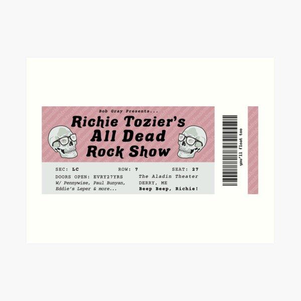 All Dead Rock Show Ticket Art Print